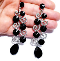 Chandelier Earrings Rhinestone Black Crystal 3.2 in