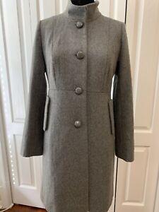 Women J Crew Gray Button Up Wool Blend Coat Size 8