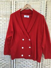 """PRINGLE Geelong 38"""" Lambs Wool Cardigan Red Double Button **hole Faults **"""
