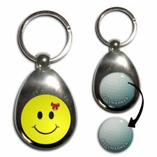Smiley with Bow - Chrome Golf Ball Marker Key Ring New