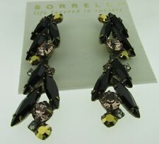 Sorrelli Black Fringe Post Earrings  antique gold tone