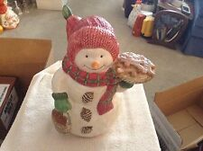 Snowman holding a pie ceramic cookie jar