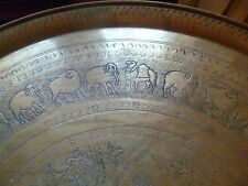 ANTIQUE ART DECO BRASS TRAY MOROCCO / MIDDLE EAST 58 CM ANIMALS ISLAMIC WRITING