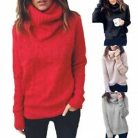 Women's Solid Knitting Sweater Turtleneck Warm Loose Fall Long Sleeve Pullover B