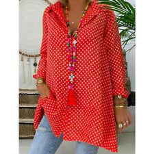 Plus Size Womens Polka Dot Blouse V Neck Long Sleeve Casual Loose Shirts Tops