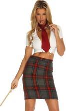 School Girl Costume Plaid Shorts Tie Crop Top Suspenders Glasses Bow Tie 553454