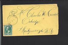 ARGUSVILLE, NEW YORK VF 3CT BANKNOTE COVER, SCHOHARIE CO DPO, 1834/1954.