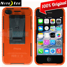 NEW Nite Ize Transparent Orange Case Cover w/Removable Belt Clip for iPhone 4S 4