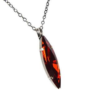 Grevenkämper Halskette lang Swarovski Kristall Silber Navette rot Siam Red Magma