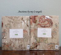 S/2 Pottery Barn GRACE PRINT FLORAL Curtains Panels Drapes 50x84 vintage muted