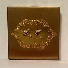Vintage Volupte' Gold Tone Decretive Parasol Powder Compact With Powder Makeup