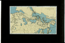 PHOTO ON GLASS - MAP OF EUROPE ROUTE OF STELLA POLARIS CRUISE 1932