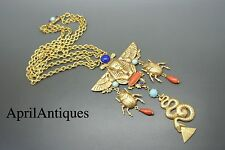 Askew London Egyptian Revival cabochon glass jewelled gold-plated necklace