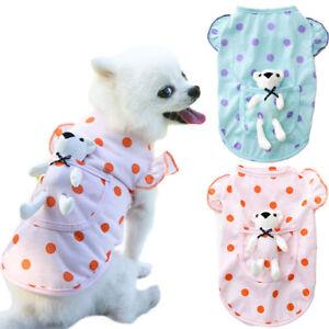 Cute Dots Thin Pet Dog Shirt Clothes White Bear Pocket Puppy Cat T-shirt Outfits