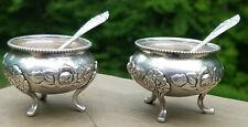 2 Silver Salts Norwegian Th Marthinsen OPPHØYET Open Rose w Spoons 830S 830S) KW