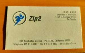 Elon Musk Business Card - Zip2 - Chairman of the board  - 90 Era Collectable