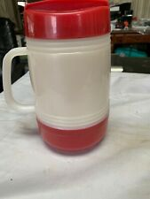 Aladdin Micro Magic Hot Food Bottle Thermos 17 Ounce Microwaveable Red And White