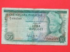 MALAYSIA ( 1967 RARE SCARCE ) 5 RINGGIT 1st ISSUE BEAUTIFUL RARE BANK NOTE