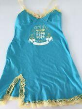 Women Girl Blue Cotton Strap Lace Chemise Nighties Sleepwear Night Sleep Dress