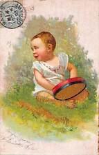 Bebe baby play tambourine? fun joy smile innocent happiness 1905