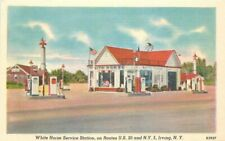 1940s Irving New York White Horse Service Station Gasoline Linen Advert Postcard