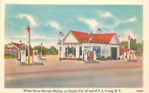 1940s Irving New York White Horse Service Station Gasoline Linen Advert Postcard