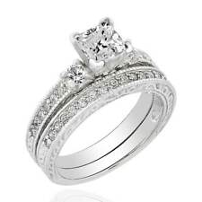 3 Stones Wedding Set Ring 1.9Ct Sterling Silver Princess Simulated Diamond