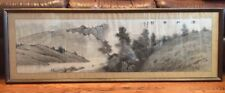 Vintage Asian 1960s Framed Watercolor Black Ink Drawing Signed Original Huge 51""