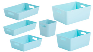 6 x Personalised Duck Egg Blue Home Storage Boxes Box Cleaning Caddy Mrs Hinch