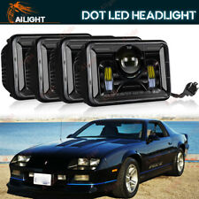 """Upgrade 4x6"""" Inch LED Headlights Lamps HID Sealed Set For Chevy Camaro 1982-1992"""