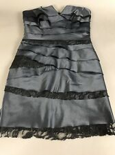 BCBGeneration Gray Strapless Cocktail Dress Formal 6 Ribbed Lace