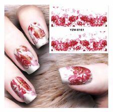 PINK Rose Fiori Nail Art Sticker Decal acqua trasferimento Manicure Decorazione