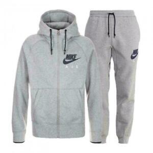 Nike Air Tracksuit Fleece Hoodie Joggers Sweatpants Hoody Bottoms Grey Mens New