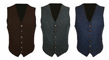 Mens Wool Tweed Slim Fitted Vest Waistcoat Brown Grey Blue S M L XL ​​2XL 3XL