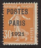 Préoblitéré n°29 POSTE PARIS 1921 30c Orange Neuf(*) TB - Signé Calves