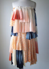 FELICITY BROWN No. 23 Silk Strapless Tiered Pleated Dress 2 4