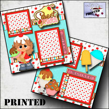 SWEET TREATS ~ ICE CREAM girl PRINTED 2 premade scrapbook pages  paper BY CHERRY
