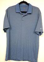 Nike Golf Dri FIT Polo Shirt  Blue White Striped short Sleeve Men's Size Large