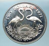 1971 The BAHAMAS SILVER 2 Dollars Large Coin Elizabeth II FLAMINGO Birds i83807