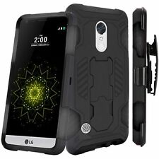 LG Harmony Holster Belt Clip Combo Cell Phone Case With Kick Stand Cover Cricket