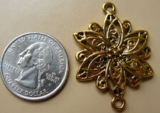 Antique gold flower connector 32x40mm 2 pieces beautiful scroll flower detail