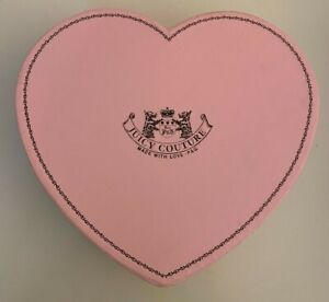 "Juicy Couture pink & brown heart gift box organizer heavy cardboard 8.5""x8"" EUC"