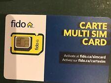 Fido Triple Nano Micro Regular Standard 4G LTE Sim Card Prepaid Postpaid Canada
