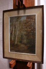 Quadro dipinto olio su tela con cornice e vetro raffigurante paesaggio firmato