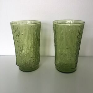 Retro Vintage Depression Green Glasses Cups x 2 Set Kitchenalia