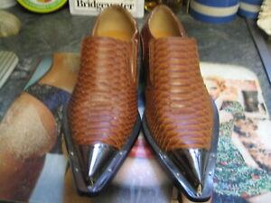 antonio tan croc leather slip on screw metal tip winkle pickers shoes size uk 9