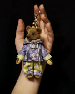 Miniature keychain teddy bear Brownie changeable outfit dressed artist toy knit