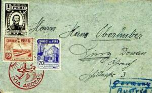 PERU 1950 FAMOUS PEOPLE ARCHITECTURE 3v ON AIRMAIL COVER TO LINZ AUSTRIA