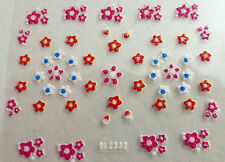 Nail art: Stickers bijoux d'ongles mode - Petites fleurs rouges roses blanches