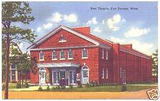 Linen Postcard Post Theatre Fort Devena Mass 1958